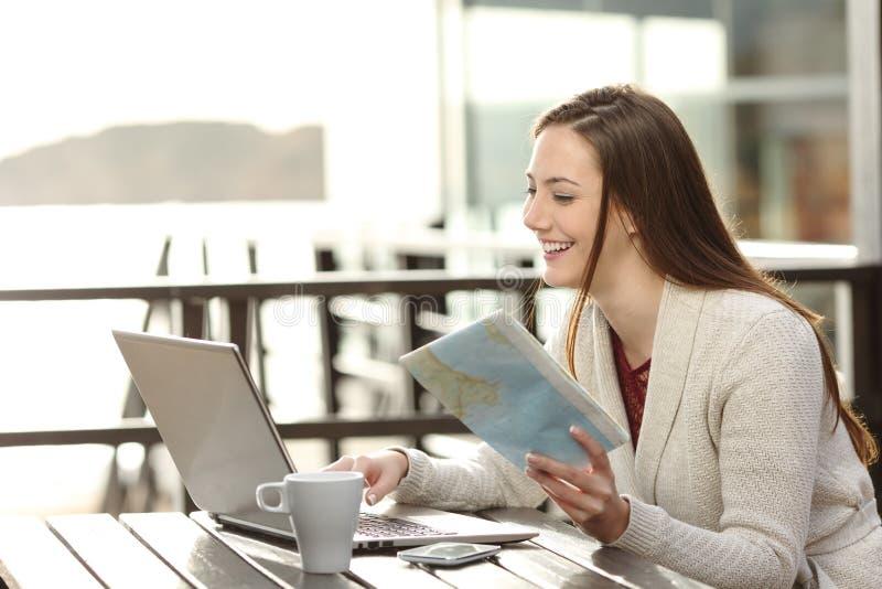 Kvinnaplanläggningen semestrar direktanslutet arkivfoton