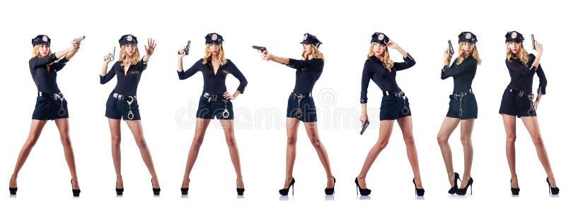 Kvinnapolisen som isoleras på vit arkivfoton