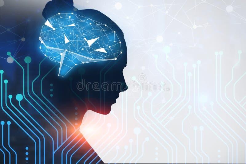 Kvinnaprofil, strömkretsar och hjärna vektor illustrationer