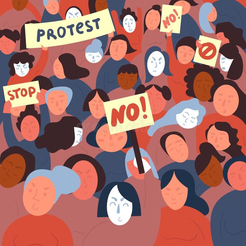 Kvinnaprotest med stoppet och inget tecken Demostrants vektor illustrationer