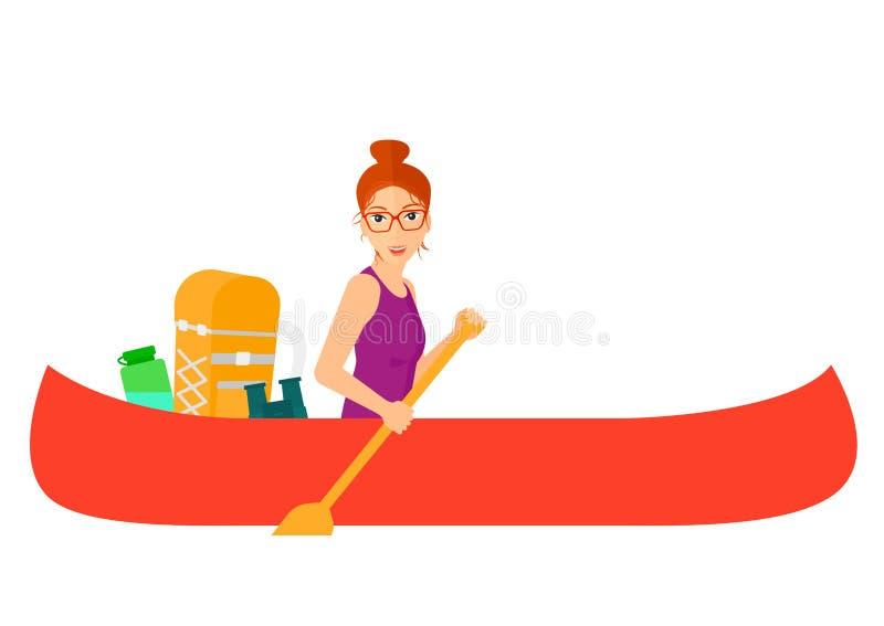 Kvinnaridning i kanot royaltyfri illustrationer