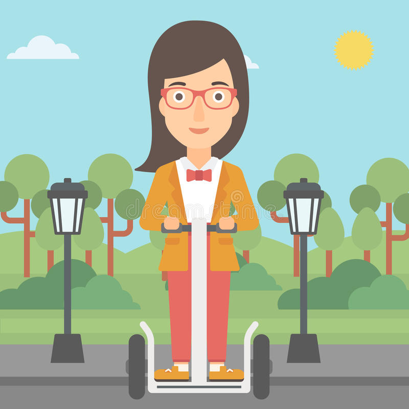 Kvinnaridning på den elektriska sparkcykeln stock illustrationer