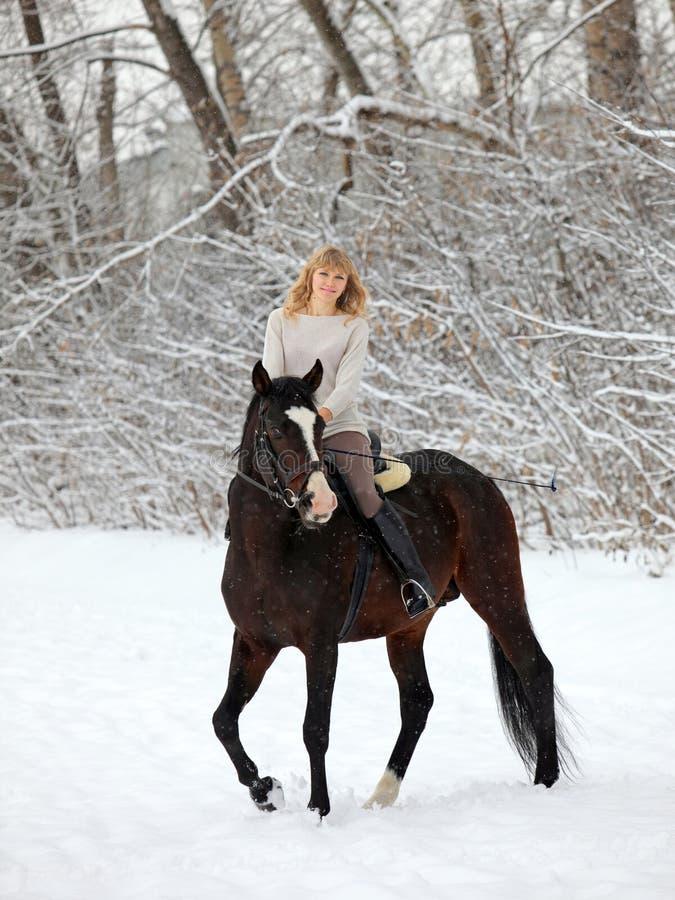 Kvinnaridninghäst i snö royaltyfri fotografi
