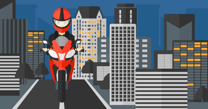 Kvinnaridningmotorcykel stock illustrationer