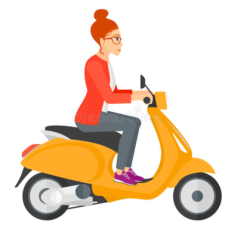 Kvinnaridningsparkcykel stock illustrationer