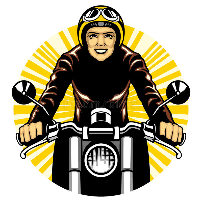 Kvinnaritt en motorcykel stock illustrationer
