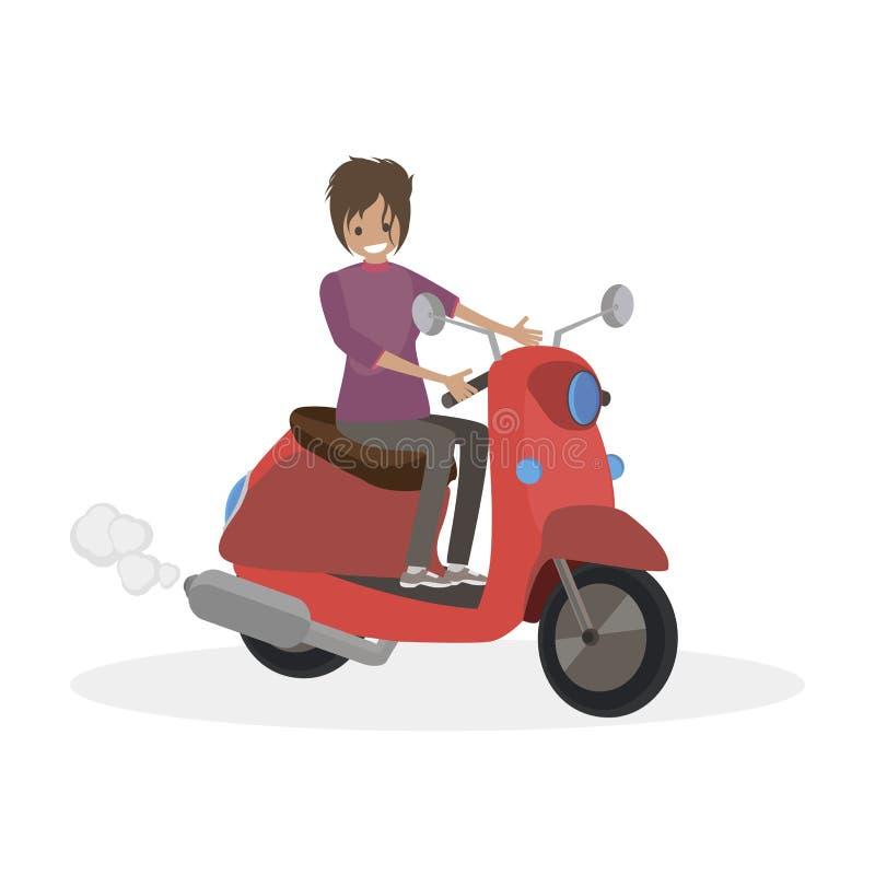 Kvinnaritter på en röd sparkcykel Folk för lägenhet för teckenvektorillustration vektor illustrationer