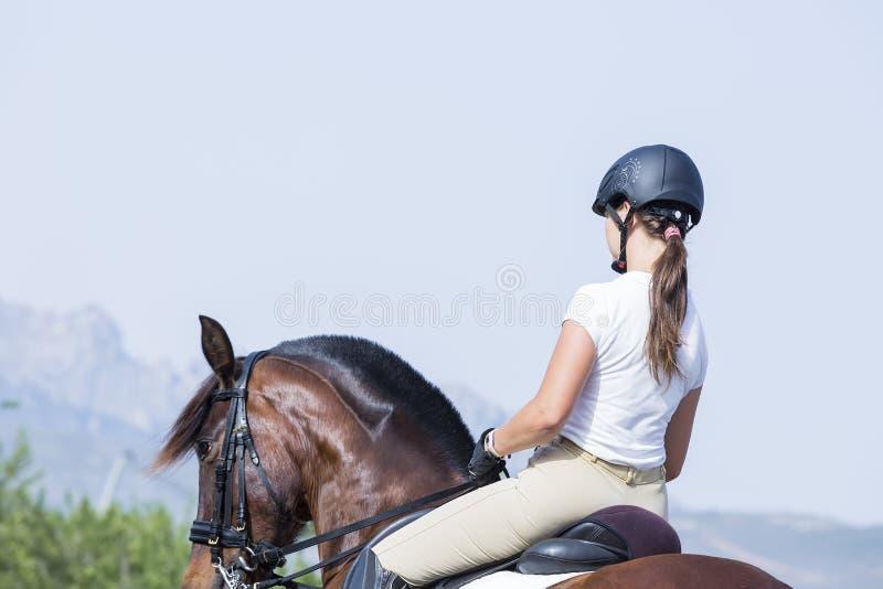 Kvinnaryttare på hästrygg royaltyfria bilder