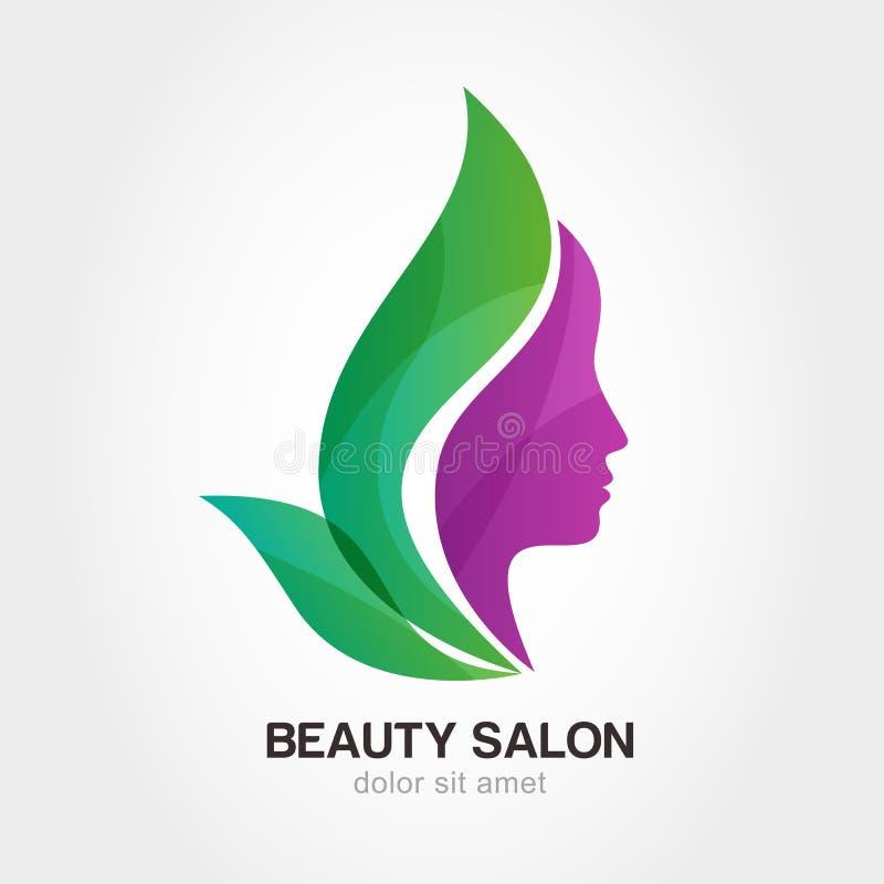 Kvinnas framsida i blommasidor Abstrakt designbegrepp för beaut vektor illustrationer