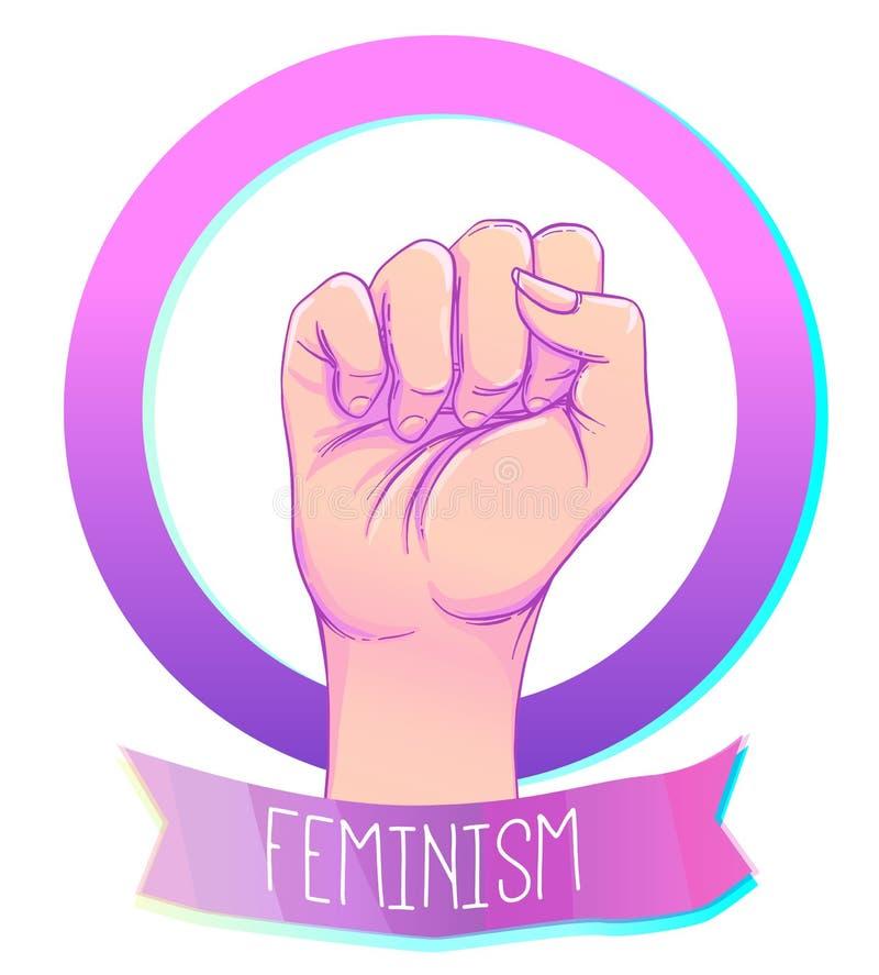 Kvinnas hand med hennes näve som lyfts upp Flickamakt Feminismconce vektor illustrationer