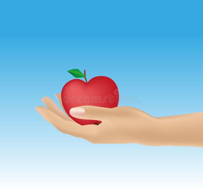 Kvinnas hand som ger äpplet arkivbild
