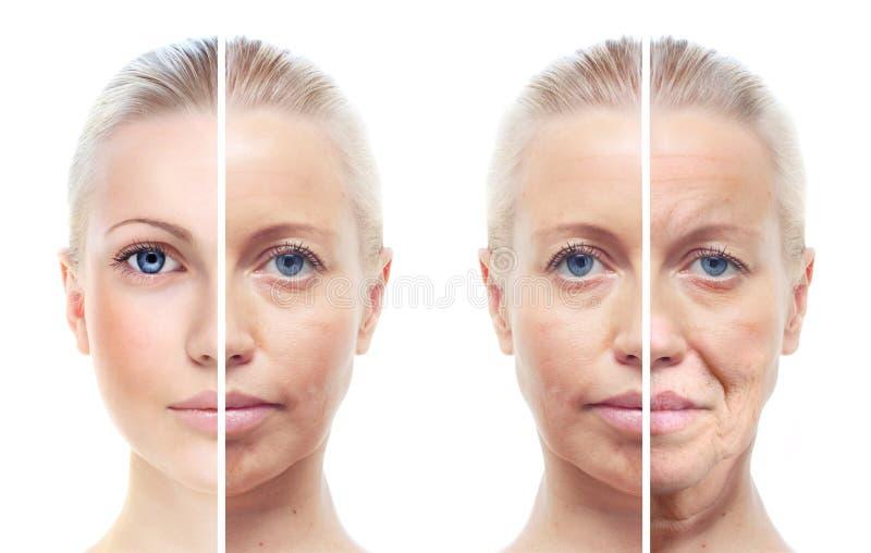 Kvinnas stående 20,40,60 gamla år. royaltyfria bilder