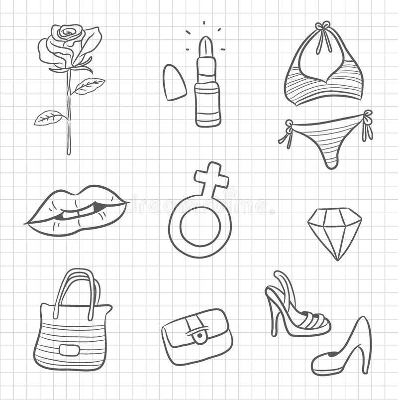 Kvinnas symbol och symbol stock illustrationer