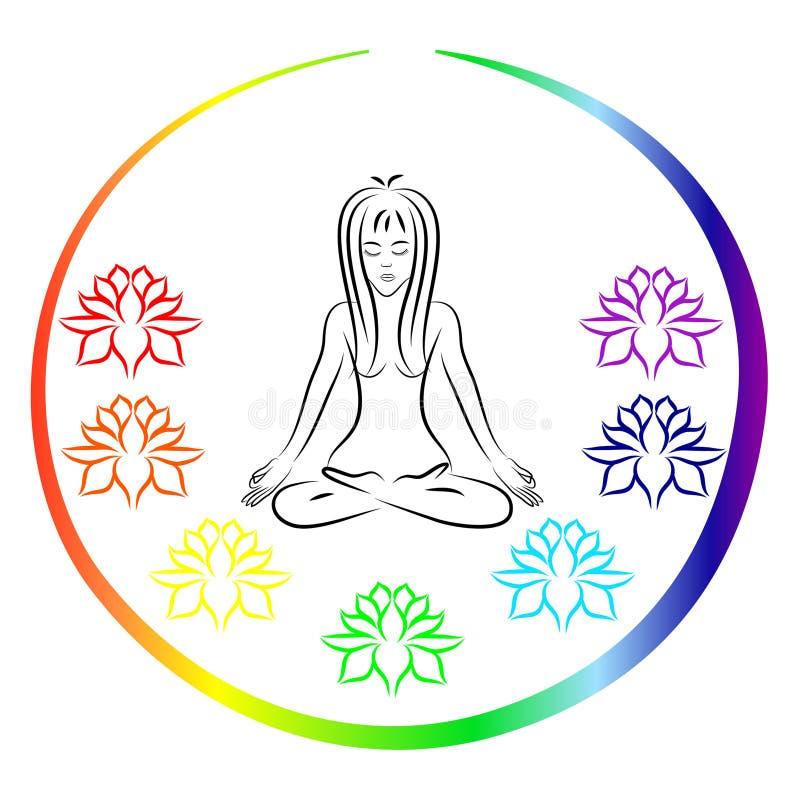 Kvinnasammanträde i yoga poserar vektor illustrationer