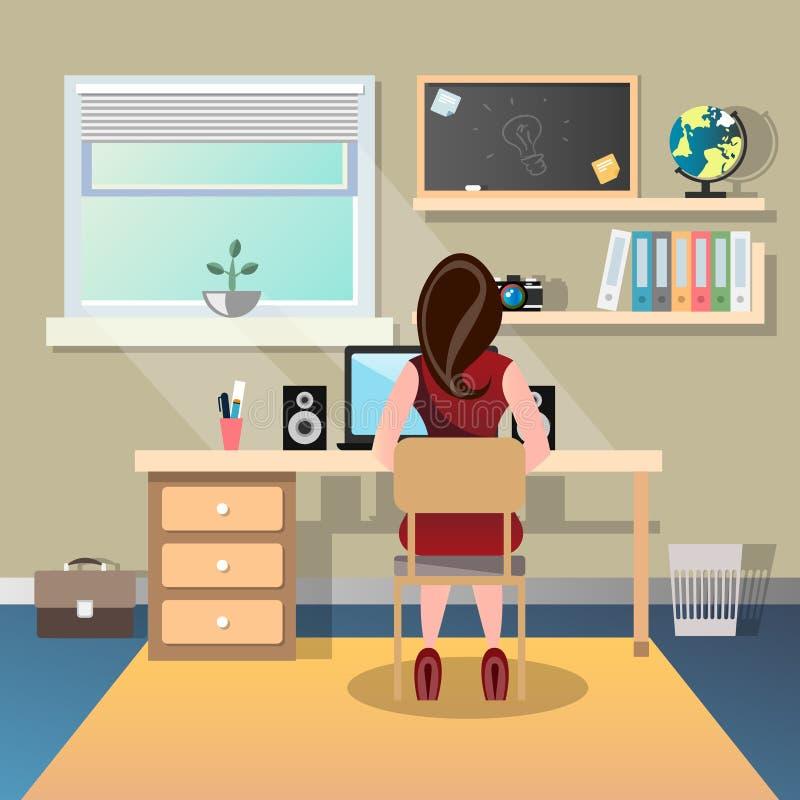 Kvinnasammanträde på ett skrivbord och arbete på datoren tillbaka beskådar stock illustrationer