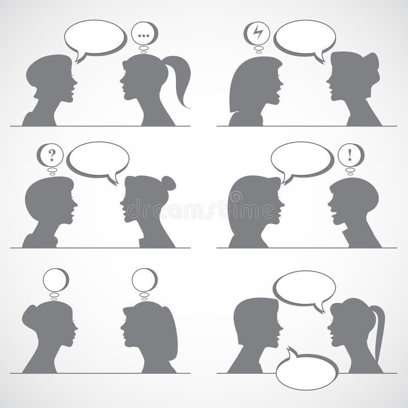 kvinnasamtal vektor illustrationer