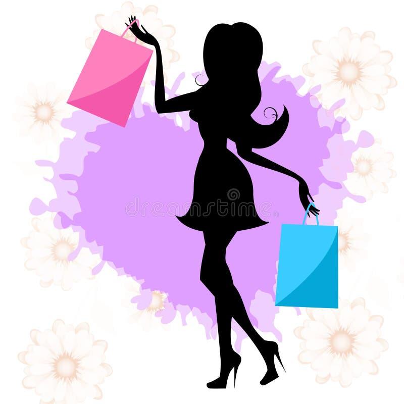 Kvinnashopping betyder detaljhandelsreor och vuxna människan stock illustrationer