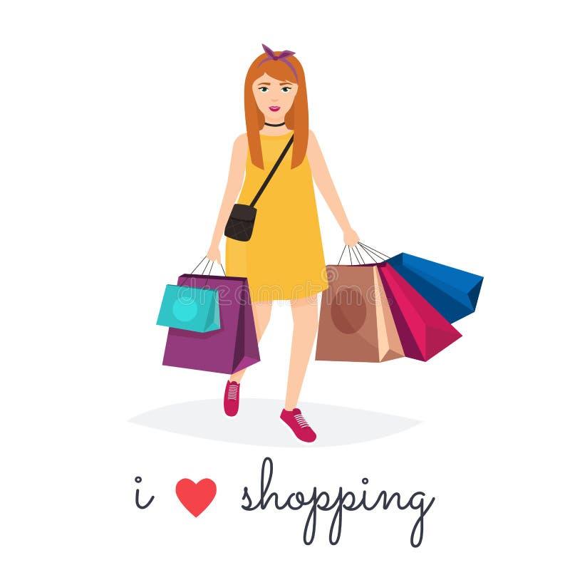 Kvinnashopping- och holdingpåsar affären älskar jag metaforshopping Mode Shoppi royaltyfri illustrationer