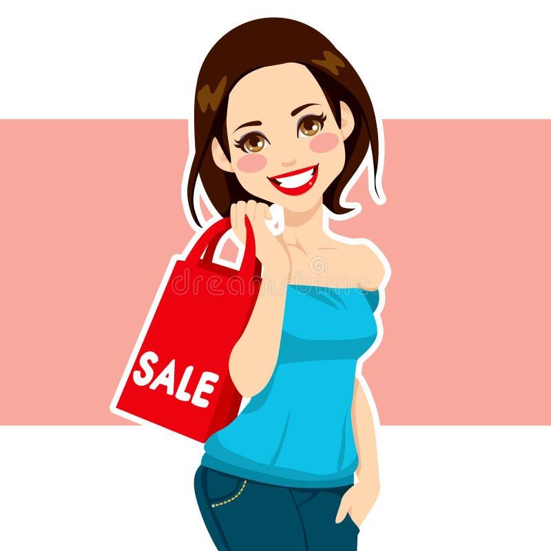 Kvinnashoppingförsäljningar vektor illustrationer