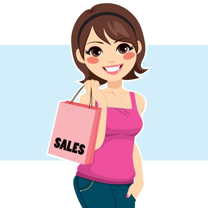 Kvinnashoppingförsäljningar stock illustrationer