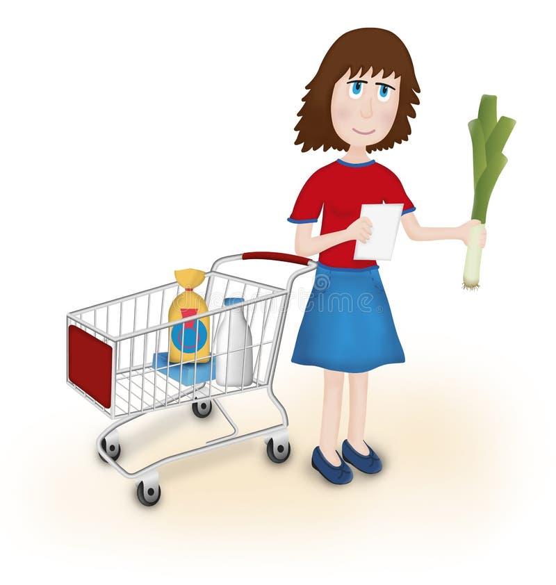 Download Kvinnashoppinglivsmedelsbutik Stock Illustrationer - Illustration av papper, lista: 37344726