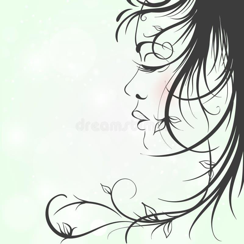 Kvinnasihouette, blom- frisyr vektor illustrationer