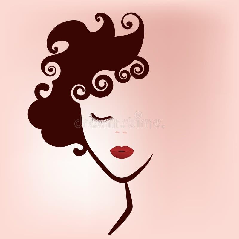 Kvinnaskönhetlogo stock illustrationer