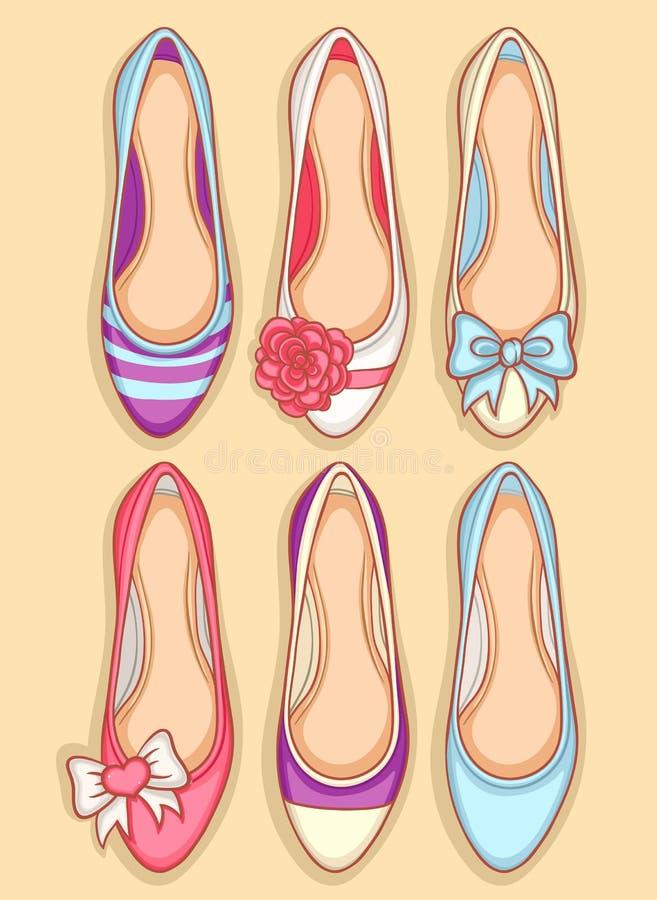 Kvinnaskor royaltyfri illustrationer