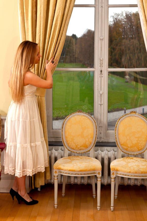 Kvinnaslottfönster arkivbild