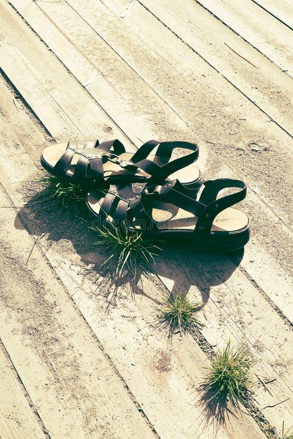 Kvinnasommarsandaler i varmt solsken på träplankor med sand och gräs, med fritt tomt utrymme för kopian - begrepp av arkivbilder
