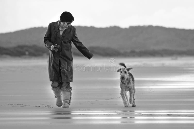 Kvinnaspring på den öde härliga stranden med den älsklings- hunden royaltyfri fotografi