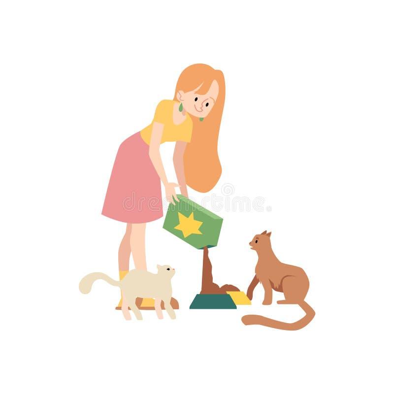 Kvinnaställningar som häller kattmat från asken för att bowla för att mata hennes husdjur tecknad filmstil stock illustrationer