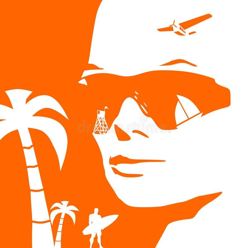 Kvinnastående i solglasögon royaltyfri illustrationer