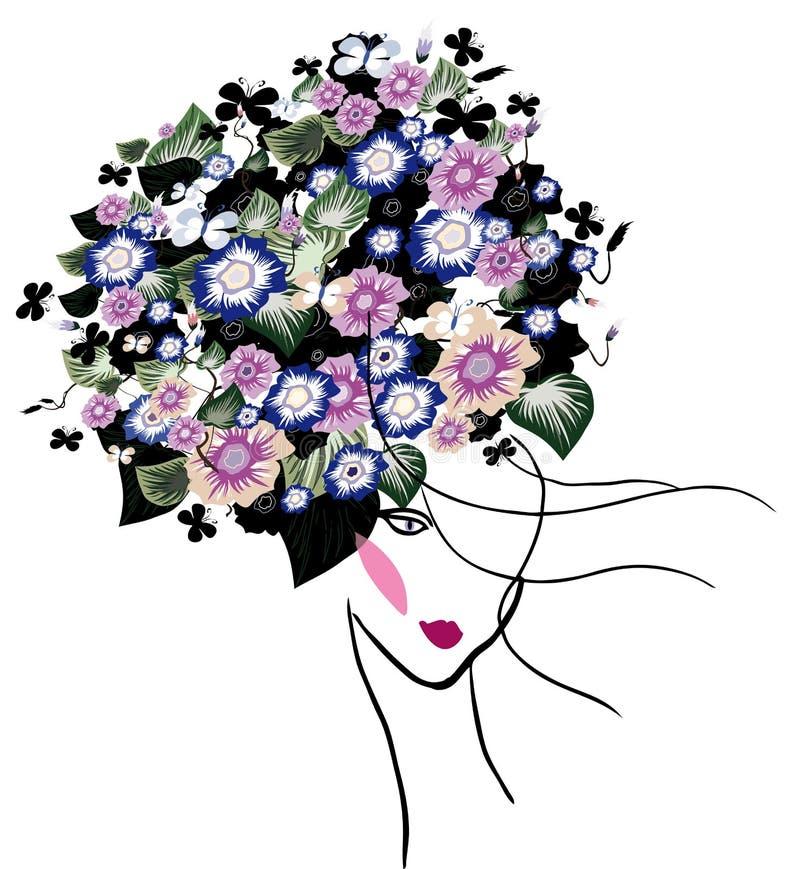 Kvinnastående med blommor stock illustrationer