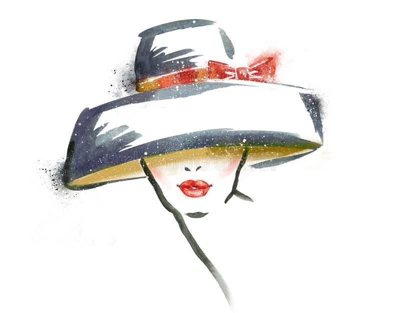 Kvinnastående med hatten abstrakt vattenfärg Text och teckning av flickan stock illustrationer