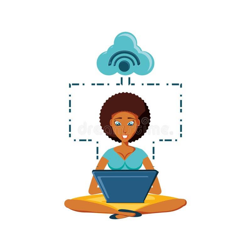 Kvinnasvartsammanträde med bärbar dator- och molnberäkning stock illustrationer