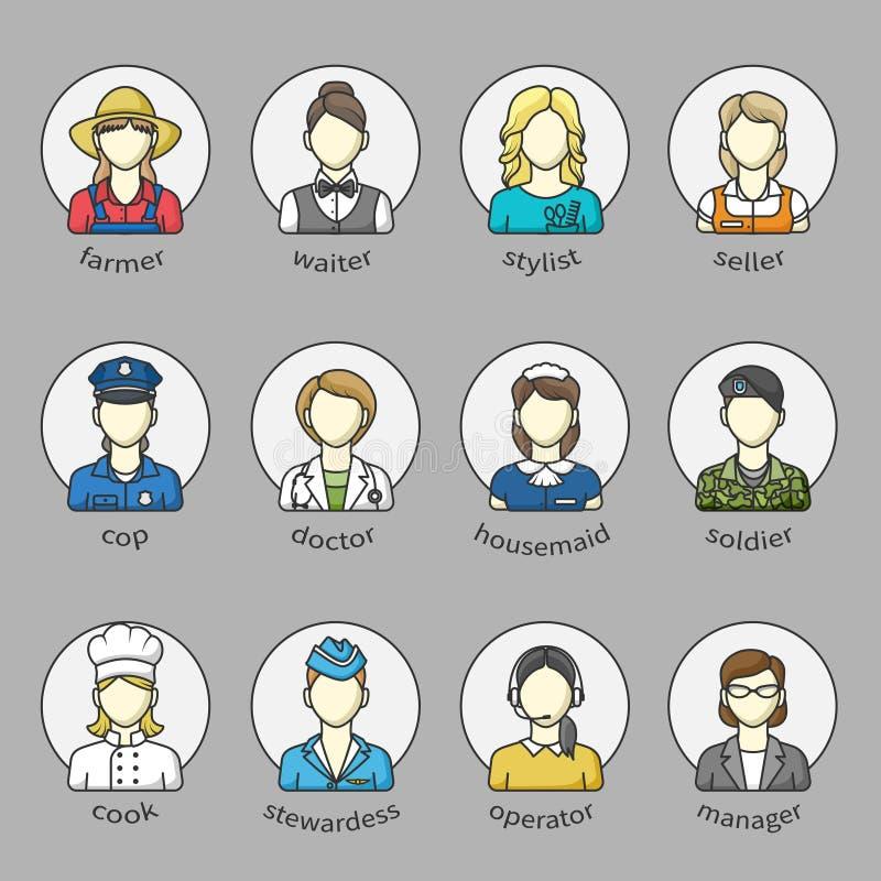 Kvinnasymboler och avatars i en cirkel med namn Uppsättning av olika kvinnliga yrken Färg skisserad symbolssamling royaltyfri illustrationer