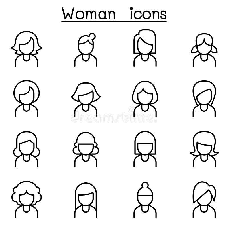 Kvinnasymbolsuppsättning i den tunna linjen stil stock illustrationer