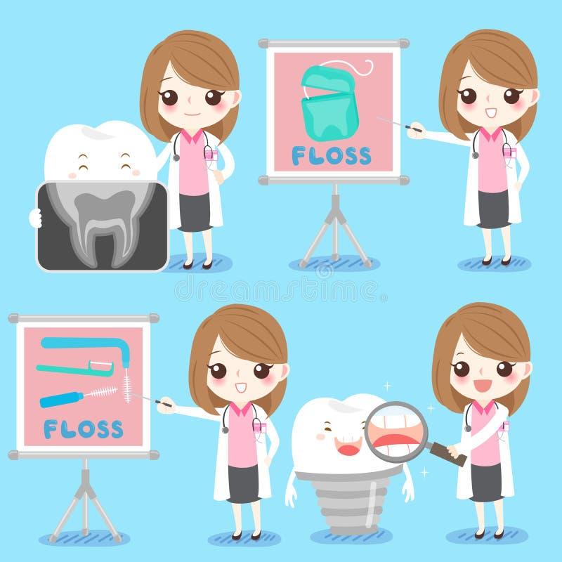 Kvinnatandläkare med tanden vektor illustrationer