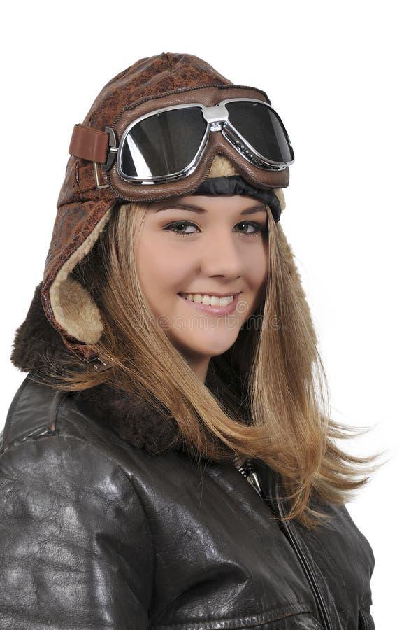 Kvinnatappningflygare royaltyfria foton
