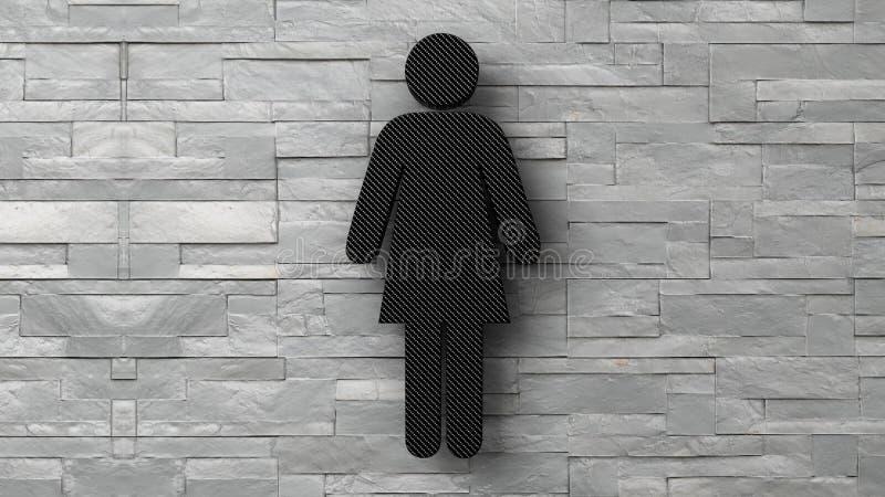 kvinnatecken för toalett 3d på den vita tegelstenväggen stock illustrationer