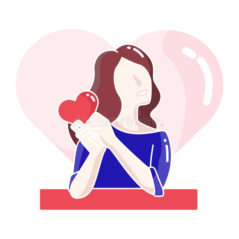 Kvinnatecken som rymmer att älska hjärta i hennes handvektorillustration royaltyfri illustrationer