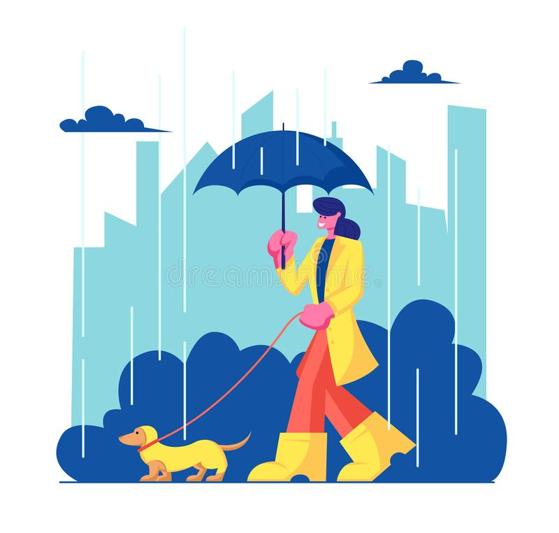 Kvinnateckenet i kappa och kängor som går med hunden på regnigt väder i stad, parkerar Flicka som spenderar Tid med husdjurdet fr vektor illustrationer