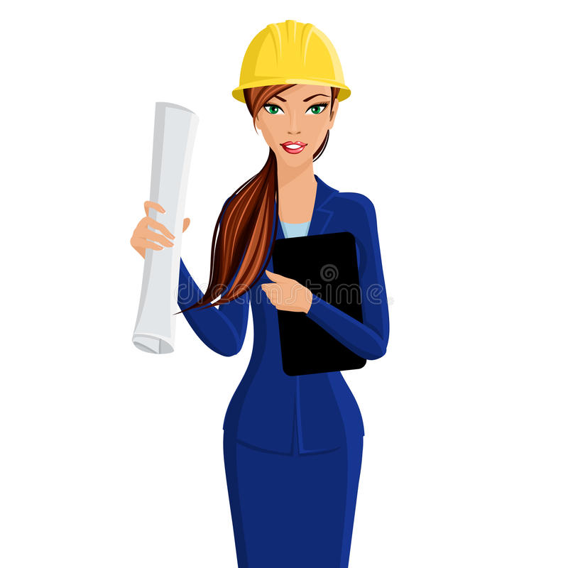 Kvinnateknikerstående vektor illustrationer