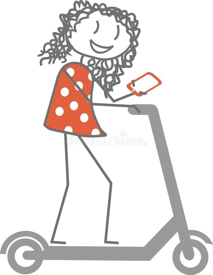 Kvinnatelefon på en sparkcykel vektor illustrationer