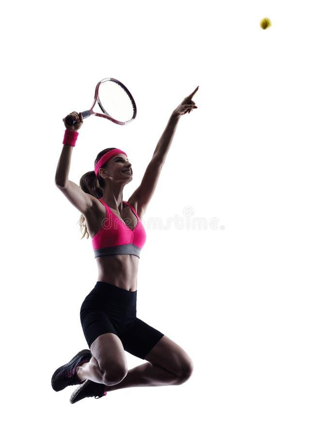 Kvinnatennisspelarekontur arkivfoto