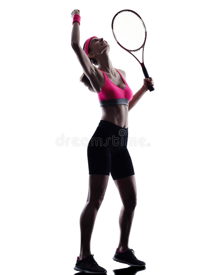 Kvinnatennisspelarekontur royaltyfri bild