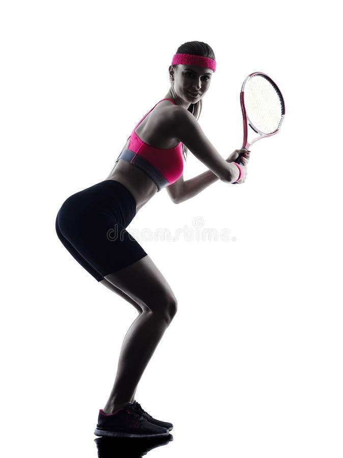 Kvinnatennisspelarekontur royaltyfri foto