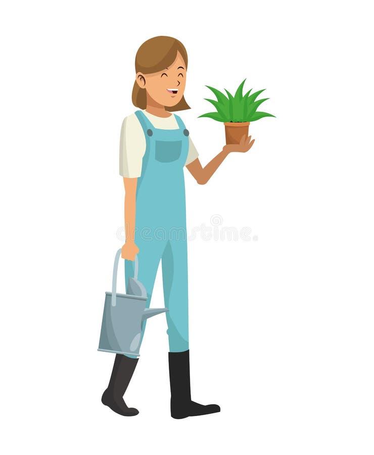 Kvinnaträdgårdkläder med vatten kan och krukväxten stock illustrationer