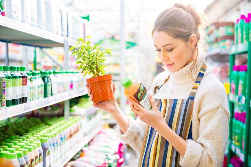Kvinnaträdgårdsmästare som läser om jordbruks- kemikalieer för blommor och växter royaltyfri bild